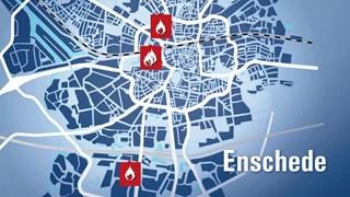 Kaartje met plekken van de branden Enschede
