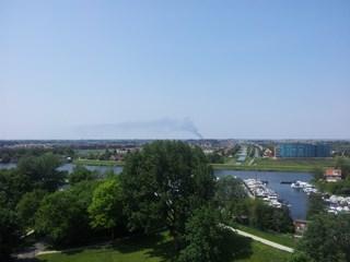 Brand Kampen vanuit Zwolle gezien