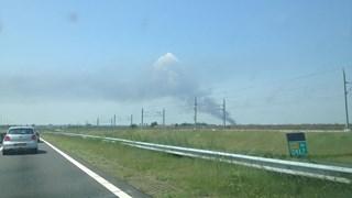 De rookwolk is ook vanaf de N50 goed te zien