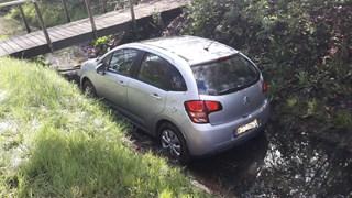Auto in de sloot
