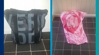 Foto's van de gevonden tas