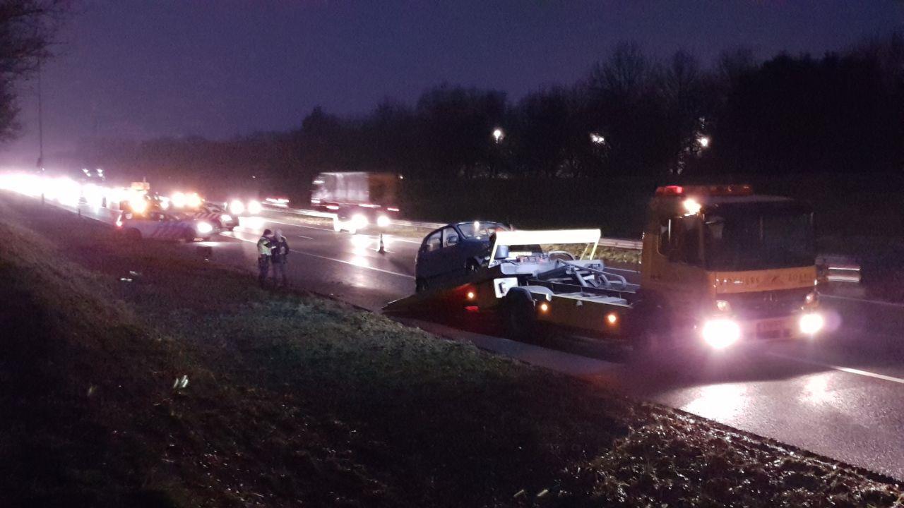 A1 bij Hengelo weer vrij na kettingbotsing.