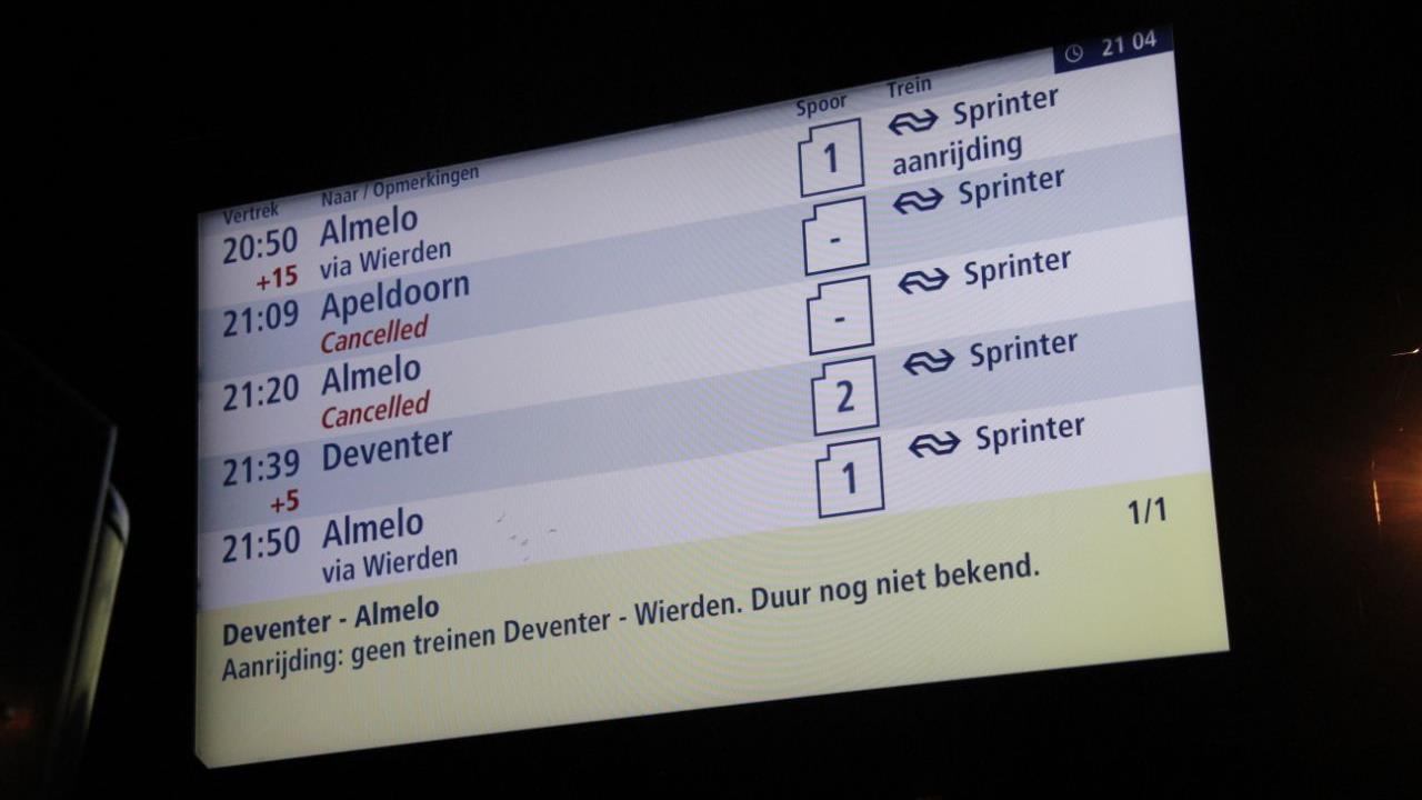 Geen treinen tussen Raalte en Nijverdal door aanrijding met persoon.