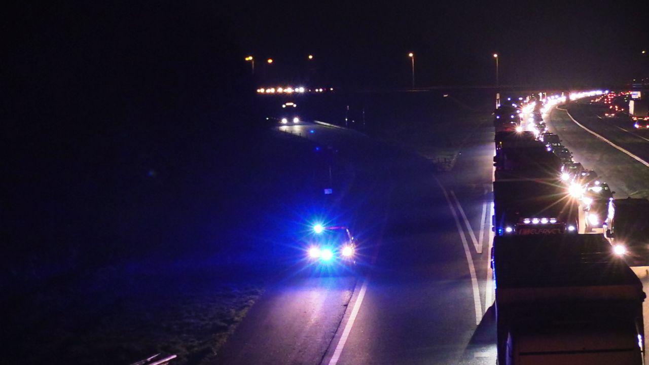 Forse file op A1 bij Hengelo door ongeluk.