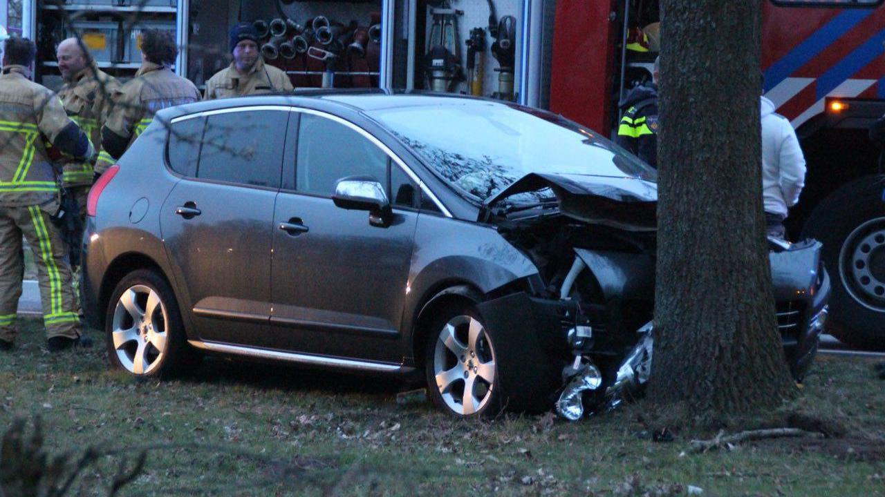 Ruinen: automobilist gewond bij botsing tegen boom.
