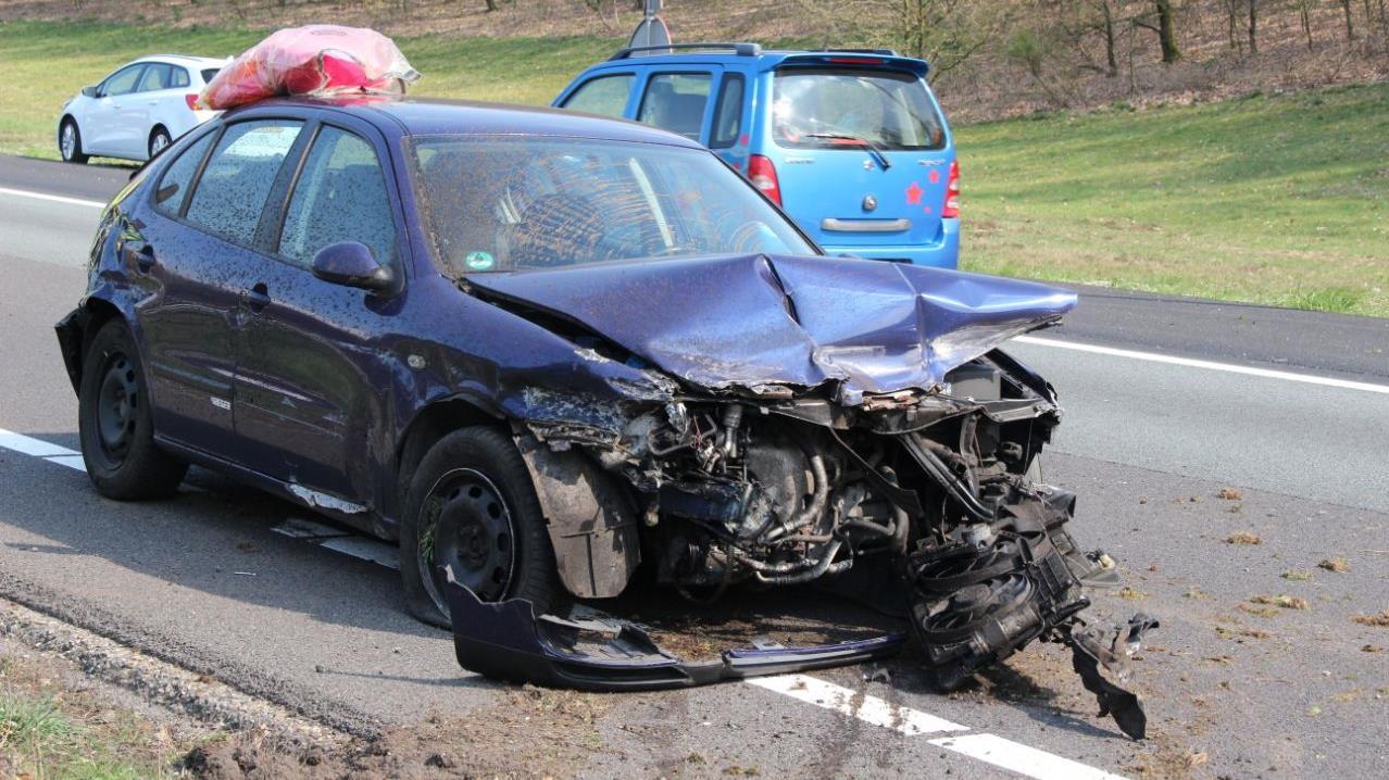 File op A1 na ongeval bij Rijssen.