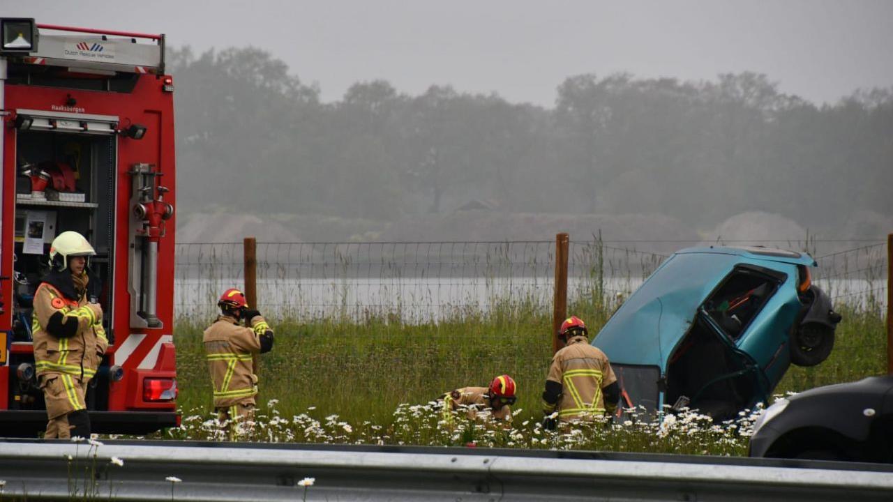 Gewonde bij ongeluk op N18 tussen Enschede en Haaksbergen.