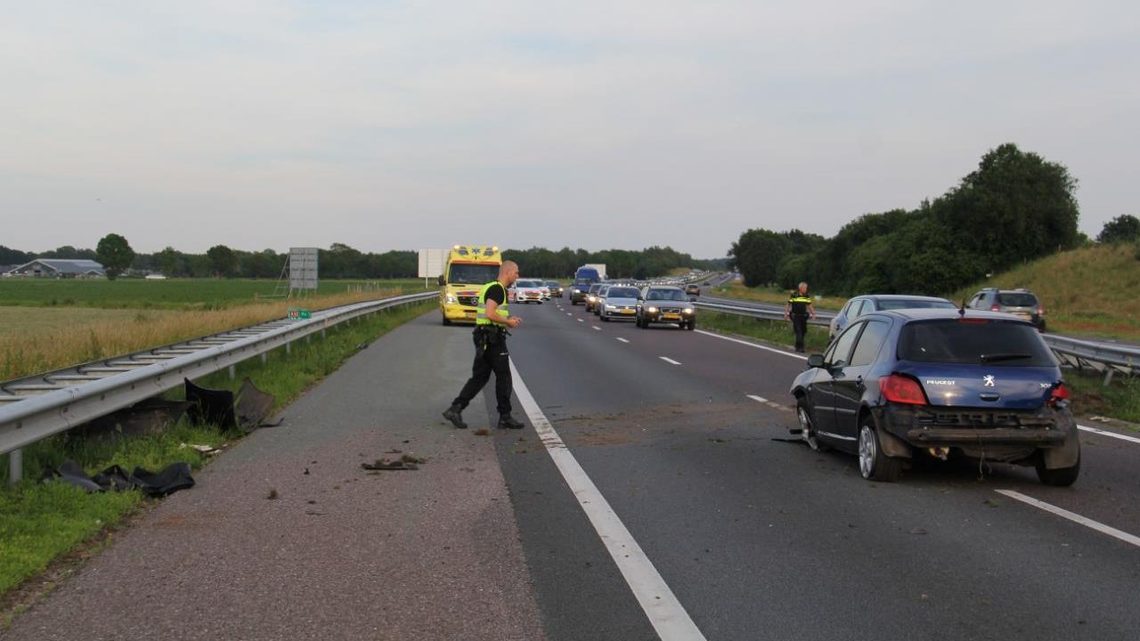 Gewonde bij aanrijding op A32 bij Steenwijk.