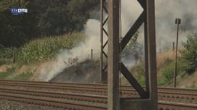 Bermbrand langs spoor bij Rijssen