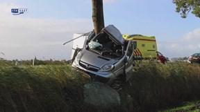 Bestelauto botst op boom bij Steenwijk