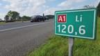 Een ongeval met meerdere voertuigen zorgt voor een flinke file op de A1