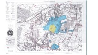 De rode lijn geeft aan hoe groot de fliegerhorst was