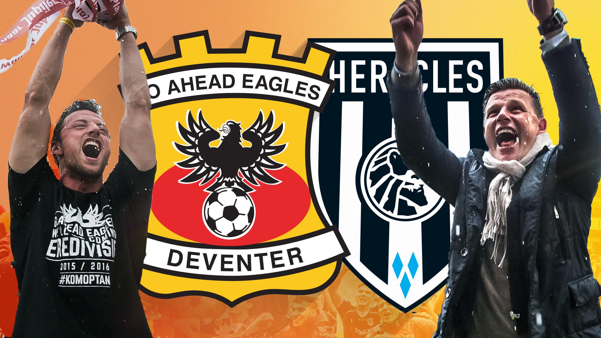 Huldiging Go Ahead Eagles en Heracles Almelo live bij RTV Oost