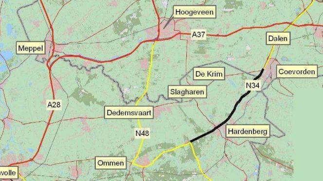 Werk aan n34 tussen witte paal en hardenberg gaat morgen van start - Kaart evenwicht tussen werk en ...