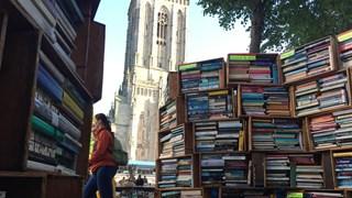 De prachtige boekenkast staat al jaren op het Grote Kerkhof
