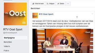 Nieuwe Facebookpagina RTV Oost Sport