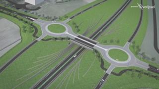 Bij de J.C. Kellerlaan in Hardenberg komt een viaduct in de N34