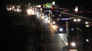 Vrachtwagenverkeer staat stil