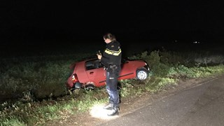 Auto in de sloot in Fleringen