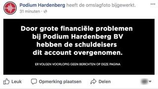 Facebookpagina Podium Hardenberg gehackt door schuldeiser