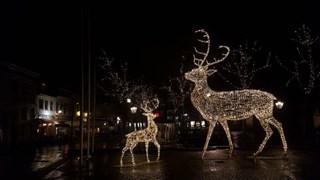 Voor het stadhuis staan twee hoge lichtbeelden