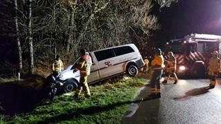 De brandweer rukte uit voor het ongeval
