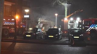 De brandweer rukte met veel man uit