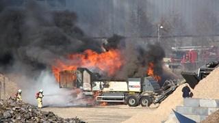 Vuurzee bij biomassacentrale in Steenwijk