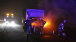 Bestelwagen in brand op de A1 bij Rijssen