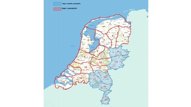 Overzicht van regio\'s waar de ophokplicht wordt ingetrokken - fotograaf: NVIC