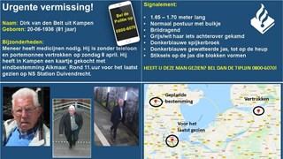 Zoektocht naar vermiste Kampenaar gaat verder