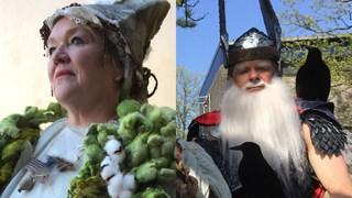 Vrouw Holle en Wodan. Twee personages uit het toneelstuk