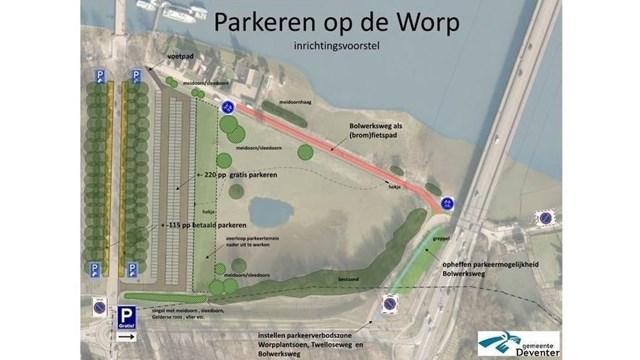 Het parkeerplan op De Worp - fotograaf: website gemeente Deventer