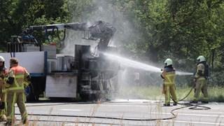 Brand op de N35 bij Haarle