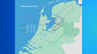 Een overzicht van de route en tijdstippen van de belevingsvlucht(en)