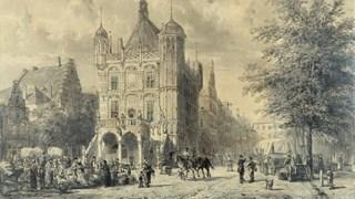Krijttekening van De Waag in Deventer