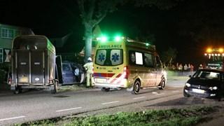Eenzijdig ongeluk auto met paardentrailer