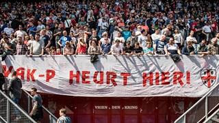 Vak-P hoort in de Grolsch Veste, laat de supportersvereniging weten met een spandoek