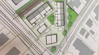 Tekening van de nieuwbouwplannen op terrein van Zaal Takens in Balkbrug