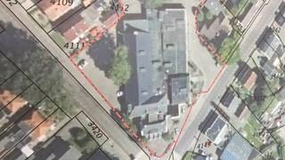 luchtfoto van het oude zalencentrum