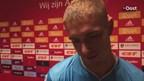 Kristoffer Peterson na afloop van het duel met Ajax